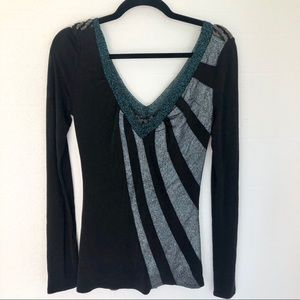 Custo Barcelona Metallic Glitter V-Neck Sweater
